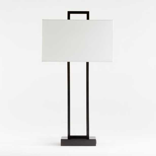 Adler Black Rectangle Table Lamp with USB, Set of 2 - Crate and Barrel