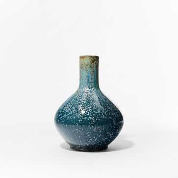 "Reactive Glaze Vase, Ocean, Large Round, 14"" - West Elm"