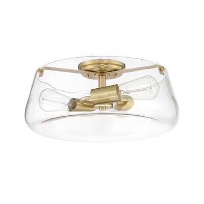 Corsica Flush Mount Ceiling Light, Gold Metal Fixture With Clear Glass Shade - Wayfair