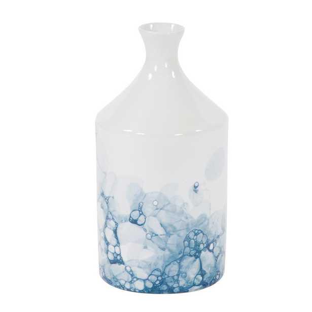 Howard Elliott Collection Blue and White Porcelain Bottle Vase, Large, White and Blue - Home Depot