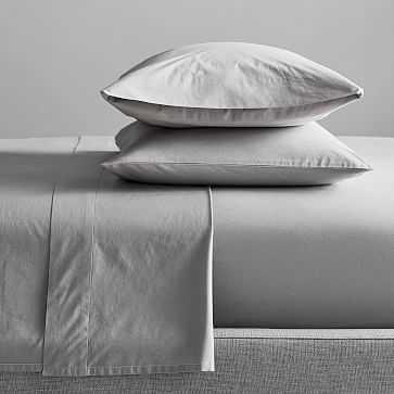 Organic Washed Cotton Sheet Set, King, Pearl Gray - West Elm