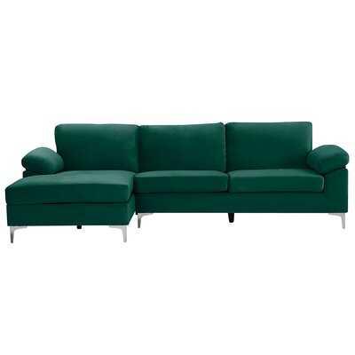"""Amber-Jo 103.5"""" Wide Velvet Left Hand Facing Sofa & Chaise - Wayfair"""