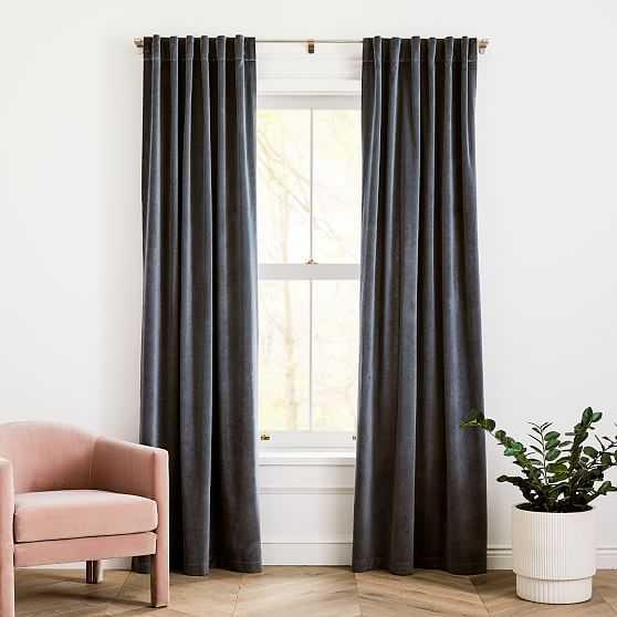 "Cotton Velvet Curtain Stormy Blue 96""-Individual - West Elm"
