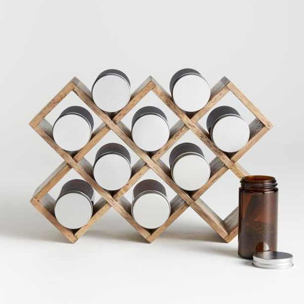 10-Jar Grey Wash Wood Spice Rack - Crate and Barrel