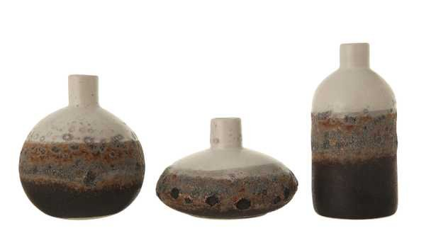 Textured Brown & White Stoneware Vase with Ombre Reactive Glaze Finish (Set of 3 Sizes) - Moss & Wilder