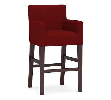 PB Classic Upholstered Counter Height Bar Stool, Espresso Legs, Twill Sierra Red - Pottery Barn