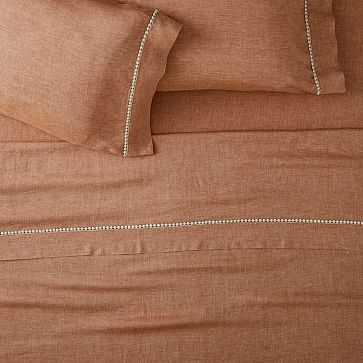 European Flax Linen Pom Pom Sheet Set, King, Terracotta Melange - West Elm