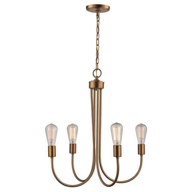 Bel Air Lighting 4 Light Antique Gold Chandelier - Home Depot