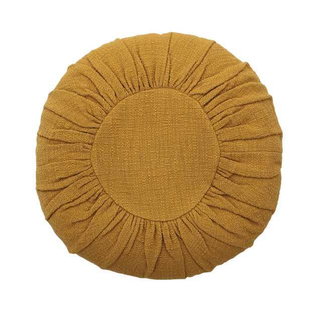 "18"" Round Cotton Pillow with Gathered Design - Moss & Wilder"