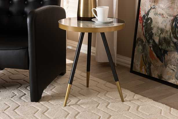 Baxton Studio Lauro Modern and Contemporary Round Glossy Marble and Metal End Table with Two-Tone Black and Gold Legs - Lark Interiors