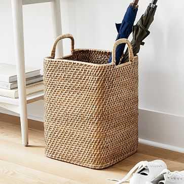 Modern Weave Tall Handle Basket, Natural - West Elm
