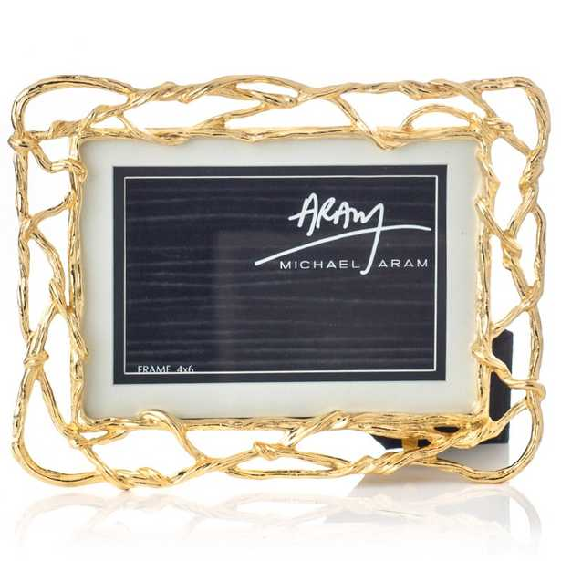Michael Aram Wisteria Gold Modern Classic 4x6 / 5x7 Gold Metal Photo Frame - Kathy Kuo Home