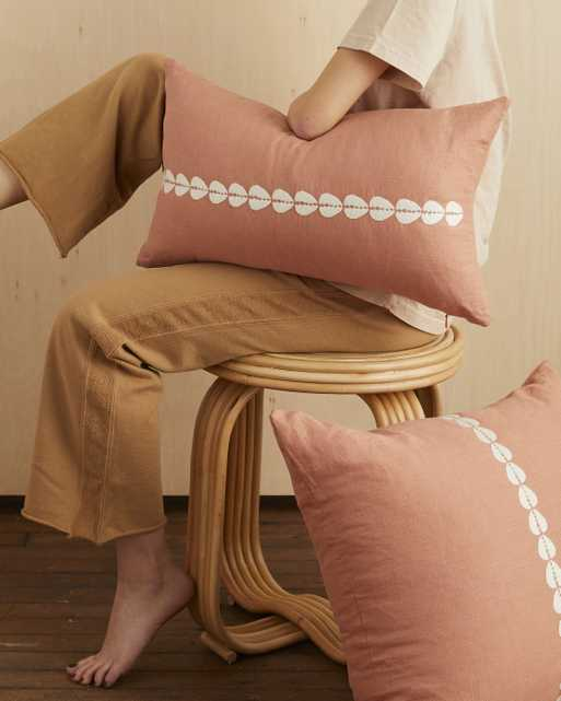 cowrie embroidered lumbar pillow in sandalwood - with insert - PillowPia
