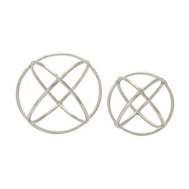 Round Aluminum Ring Decorative Orbs in Silver (Set of 2) - Home Depot