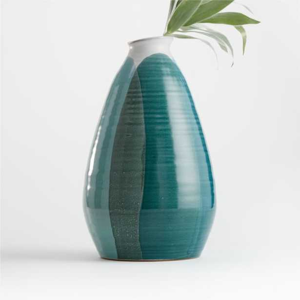 Lona Large Blue Green Vase - Crate and Barrel