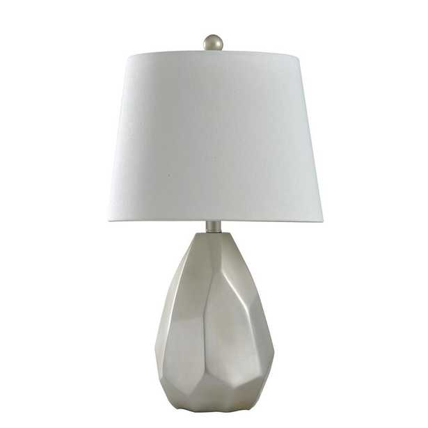 StyleCraft 25 in. Matte Silver Champagne Table Lamp with Geneva White Hardback Fabric Shade - Home Depot