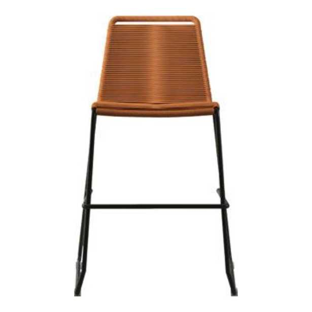 Modloft Barclay Modern Classic Orange Woven Rope Steel Outdoor Counter Stool - Kathy Kuo Home