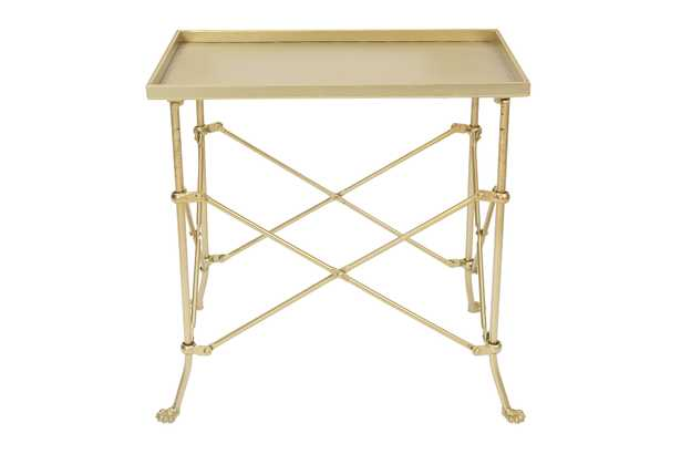 Tray-Style Metal Accent Table, Gold - Nomad Home