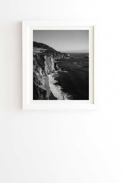 """Monochrome Big Sur by Bethany Young Photography - Framed Wall Art Basic White 20"""" x 20"""" - Wander Print Co."""