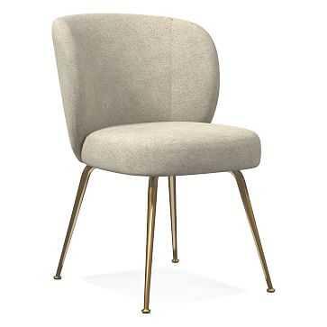 Greer Dining Chair, Distressed Velvet, Light Taupe, Light Bronze - West Elm