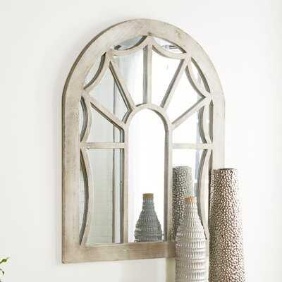 "Distressed Beige Wood Cathedral Wall Mirror, 36"" X 44"" - Wayfair"
