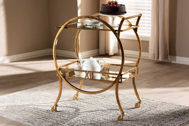 Baxton Studio Arsene Modern and Contemporary Antique Gold Finished 2-Tier Mobile Bar Cart - Lark Interiors
