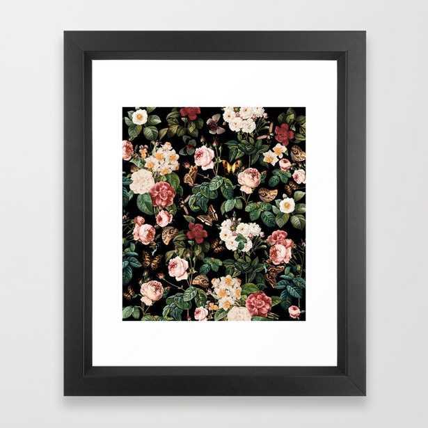Floral And Butterflies Framed Art Print by Burcu Korkmazyurek - Vector Black - X-Small-10x12 - Society6