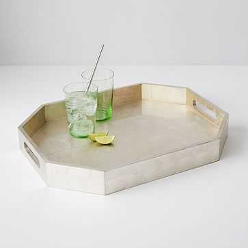 Geo Lacquer Tray, Silver - West Elm