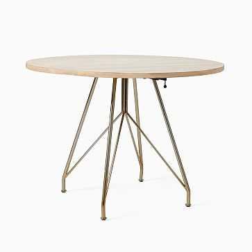 Jules Drop Leaf Dining Table, Cerused White, Light Bronze - West Elm