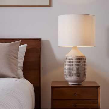 "Mojave Ceramic Table Lamp, 26"", White/Sand - West Elm"