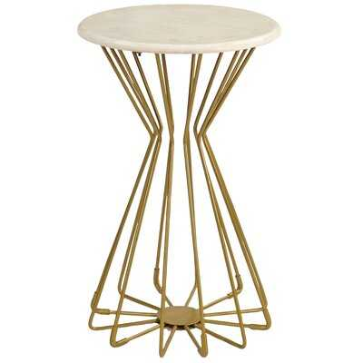 Mercer41 & Co. Gold Layla Marble End Table - Wayfair