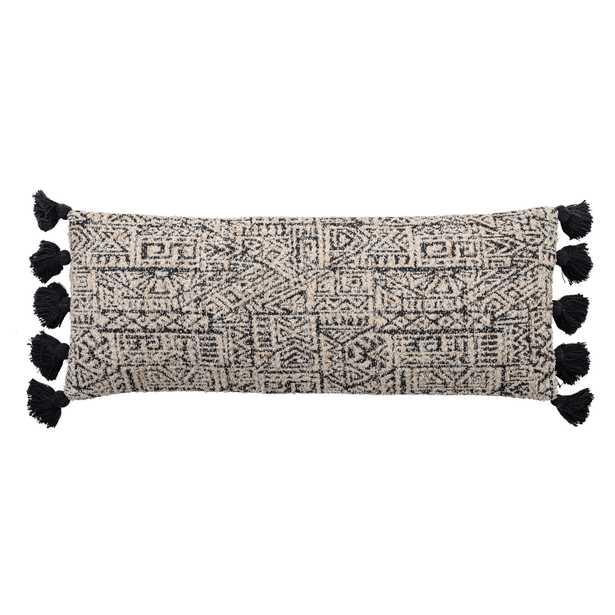 "36""L Cotton Woven Lumbar Pillow with Geometric Patterns & Thick Tassels - Moss & Wilder"