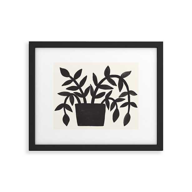 "Black Painted Plant by Pauline Stanley - Modern Framed Art Print Black 11"" x 14"" - Haldin"