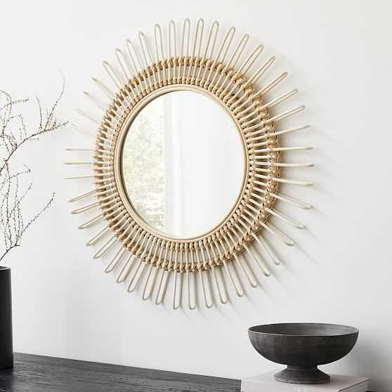 Elinor Rattan Round Wall Mirror - West Elm