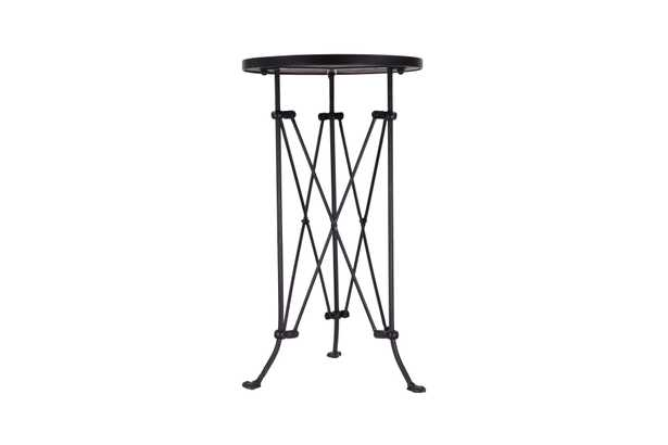 Round Pine Wood Accent Table with Metal Frame - Nomad Home
