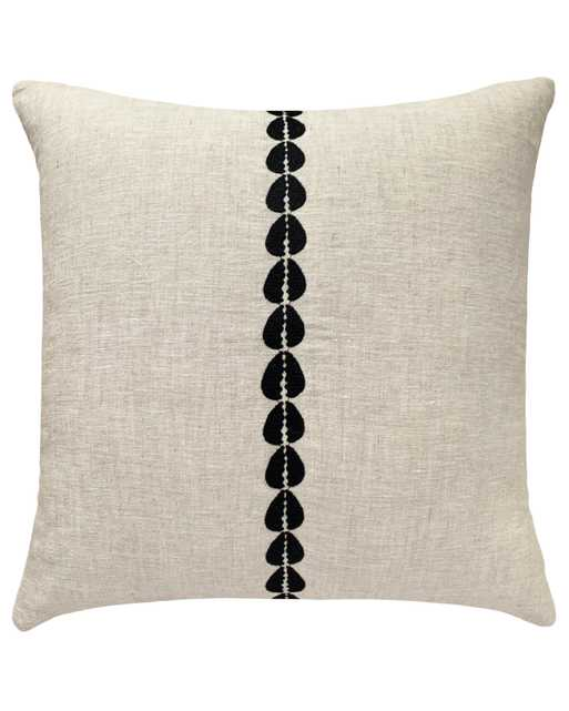 """Cowrie Embroidered Pillow Cover, 20"""" x 20"""", Black & White - PillowPia"""