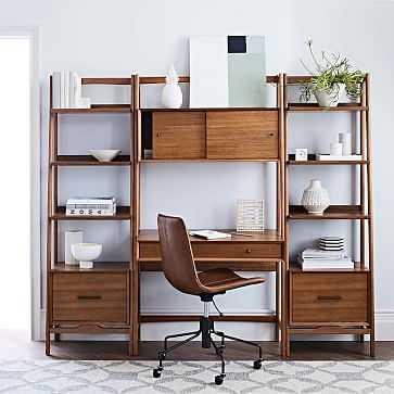Mid-Century Wall Desk + 2 Narrow Shelves, Acorn - West Elm