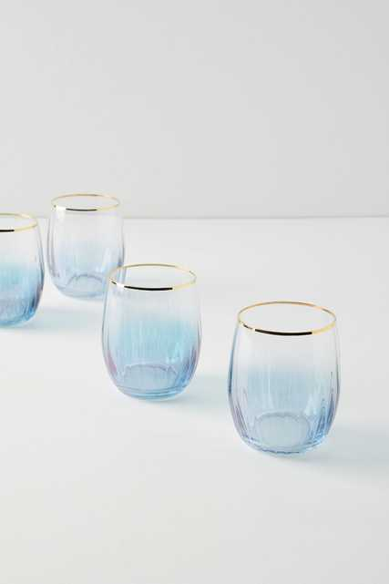 Waterfall Stemless Wine Glasses, Set of 4 - Anthropologie
