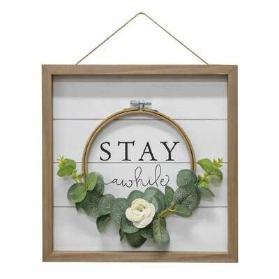 Stay Awhile - Picture Frame Textual Art Print on Wood - Wayfair