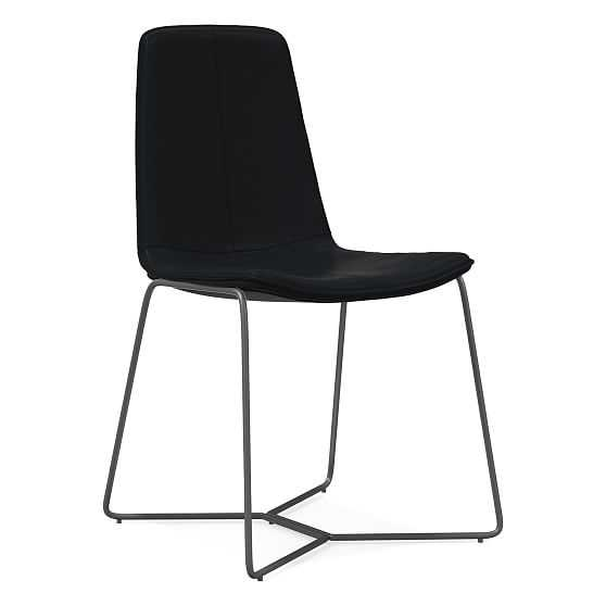 Slope Dining Chair, Sierra Leather, Black/Charcoal - West Elm