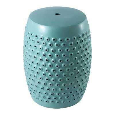 Ceramic White Drum Outdoor Side Table - Wayfair