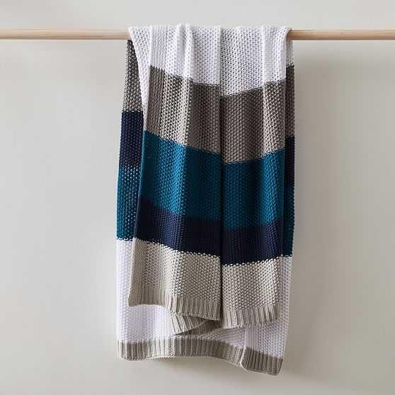 """Modern Striped Cotton Knit Throw, 50""""x60"""", Midnight - West Elm"""