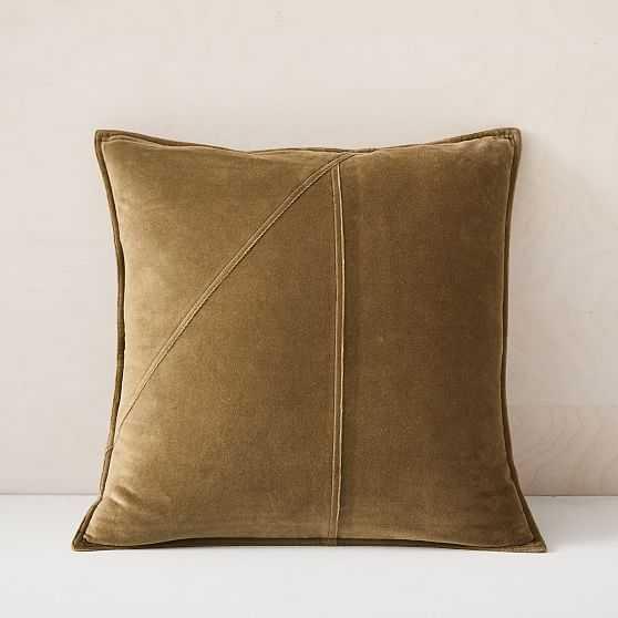"Washed Cotton Velvet Pillow Cover, Set of 2, Camo Olive, 18""x18"" - West Elm"