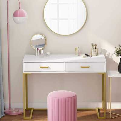Writing Desk Desk With 2 Drawers, Simple And Modern White Desk - Wayfair