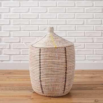 Mbare Graphic Basket, White, Medium - West Elm