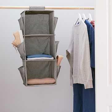 Soft Closet Storage - Hanging Closet Organizer + Shoe Pockets, Storm Gray - West Elm