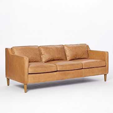Hamilton Leather 3-Seater Sofa, Burnt Sienna, Almond - West Elm