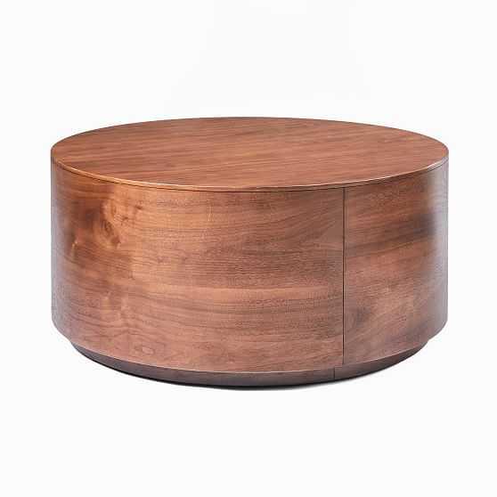 "Drum Coffee Table, 36"", Cool Walnut - West Elm"