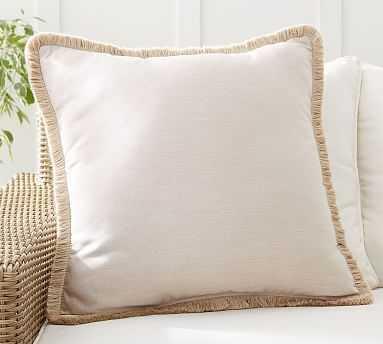 "Sunbrella(R) Solid Tassel Indoor/Outdoor Pillow, 24 x 24"", Flax - Pottery Barn"