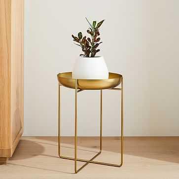 Spun Metal Plant Stand, Antique Brass,16 inch - West Elm
